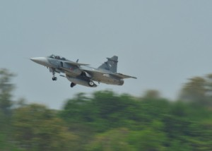 A Royal Thai Air Force JAS 39 Gripen takes off during Exercise Cope Tiger 16, on Korat Royal Thai Air Force Base, Thailand, March 7, 2016. Exercise Cope Tiger 16 includes over 1,200 personnel from three countries and continues the growth of strong, interoperable and beneficial relationships within the Asia-Pacific Region, while demonstrating U.S. capability to project forces strategically in a combined, joint environment. (U.S. Air Force Photo by Tech Sgt. Aaron Oelrich/Released)